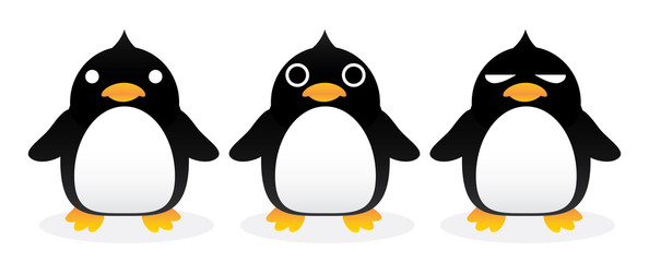 Penguin gang cartoon vector.