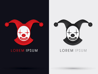 Clown joker logo graphic vector.