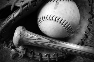 Old Used Baseball, Baseball Glove, and Baseball Bat.