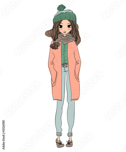 isolated cute winter greeting card illustration with a young beautiful girl wearing warm clothes