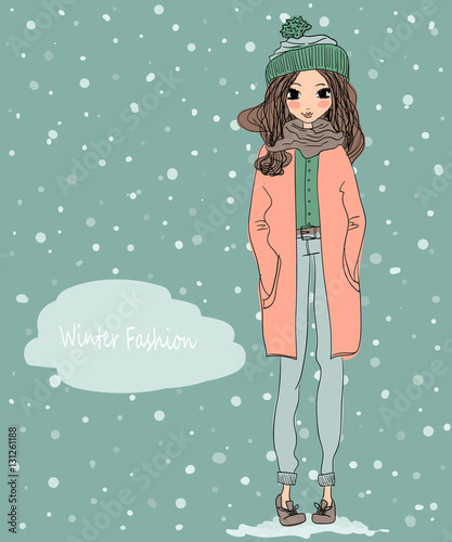 cute winter greeting card with a young beautiful girl wearing warm clothes and winter background