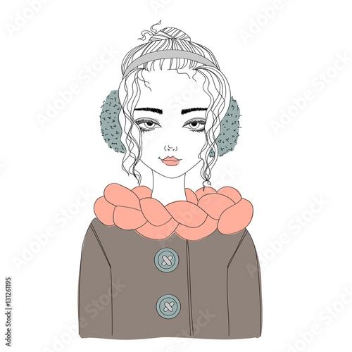 fashion illustration with a young pretty girl wearing warm winter clothes. colorful illustration for blogs, magazines, books