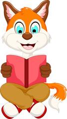 cute smart fox reading book