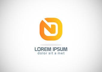 square line letter n vector logo