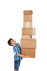 Boy Struggling with Tower of Boxes