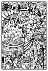 Witch practicing witchcraft. Engraved fantasy illustration