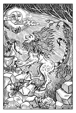 Manticore or beast in the forest. Engraved fantasy illustration