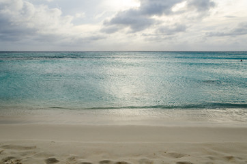 Panorama view of the turquoise Caribbean sea