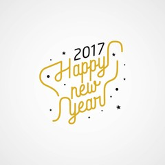 Happy New Year 2017 typography on white background. Greeting card design with hand lettering inscription for winter holidays. Vector illustration