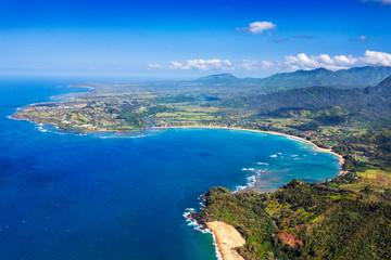 Scenic Hanalei Bay on the north shore of Kauai, Hawaii