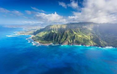 Na Pali approaching Hanalei - deeply etched Na Pali cliffs, Ke'e Beach, Ha'ena Beach State Park, Tunnels Beach leading to Hanalei Bay, Kauai.