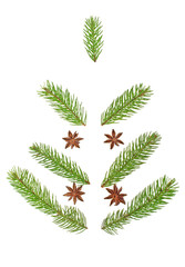 Christmas Tree made of fir tree branches and anise stars. Holida