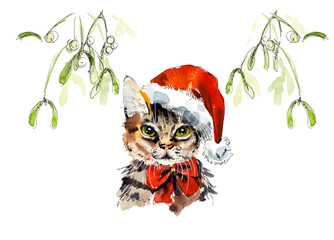 Cat under a mistletoe. New year card. Hand drawn watercolor illustration