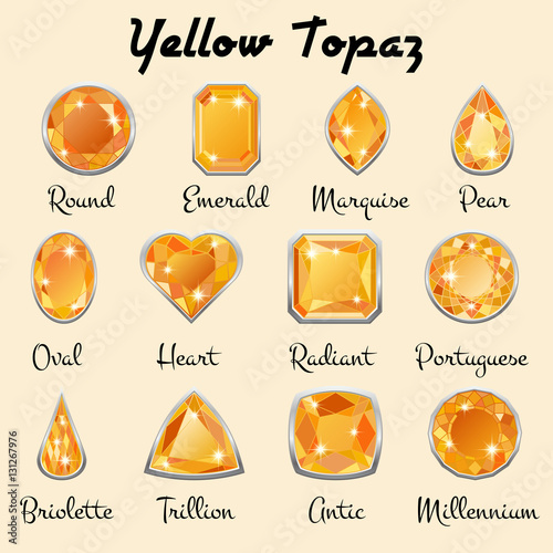 quot set of different types of cuts of precious topaz in