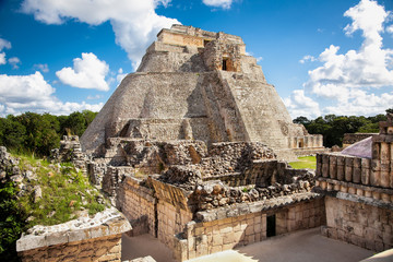 Magician (Piramide del adivino) in ancient Mayan city Uxmal, Mex