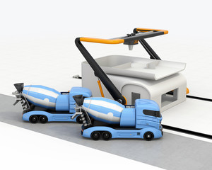 Concrete mixer trucks in the side of industrial 3D printer which printing house. 3D rendering image.