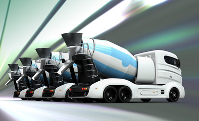 Rear view of concrete mixer trucks on dynamic texture background. 3D rendering image with clipping path.