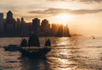 Fotomurales -  Hong Kong city with sunset, vintage tone