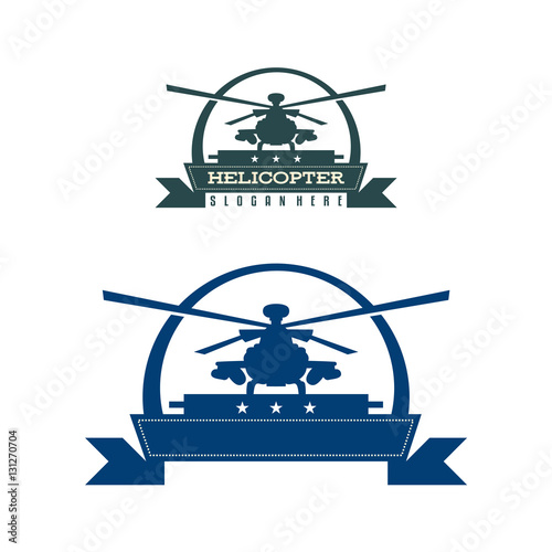 helicopter chopper propeller silhouette vintage logo template stock