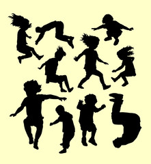 Happy playing and sport training silhouette. Good use for symbol, logo, web icon, mascot, sign, sticker, or any design you want