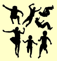 Children training sport silhouette. Good use for symbol, logo, web icon, mascot, sign, sticker, or any design you want