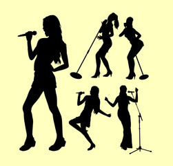 Singing female action silhouette. Good use for symbol, logo, web icon, mascot, sticker, sign, or any design you want