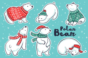 Polar Bears collection in red and green sweater, scarf, hat