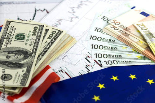 Concept Of Currency Trading Hundred Us Dollar Bills Lying Fan Shaped Euro