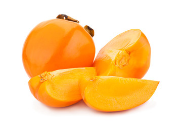 Date-plum fruit on white