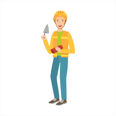 Man Construction Worker With Trowel And Brick, Part Of Happy People And Their Professions Collection Of Vector Characters