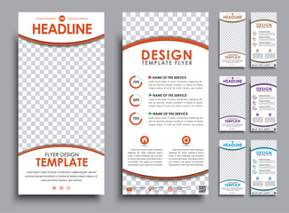 Design white  flyers size of 210x99 mm.