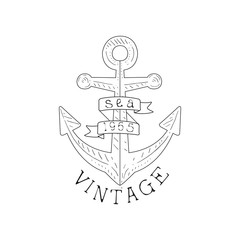 Ship Anchor Vintage Sea And Nautical Symbol Hand Drawn Sketch Label Template
