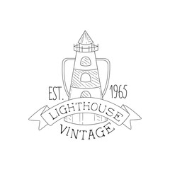 Lighthouse Vintage Sea And Nautical Symbol Hand Drawn Sketch Label Template