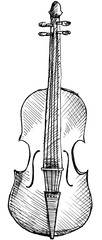 Sketched violin isolated on white background. Hand drawing.