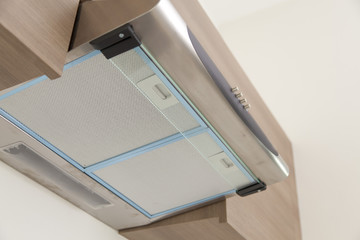 Closeup of exhaust hood in the new modern kitchen