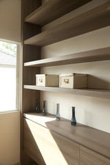wooden shelf and oxes ,home interior