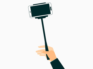 Hand holds a selfie stick with smartphones. Vector illustration.