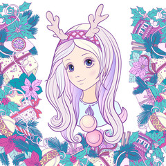 Young girl with long purple hair with a rim for hair with antler