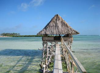 Hut in lagoon