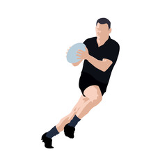 Rugby player vector illustration. Running man with ball in hands