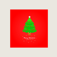 Christmas card with Christmas tree on a red background
