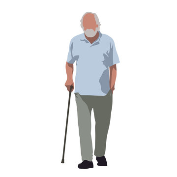 Old man walks and relies on cane. Flat vector illustration