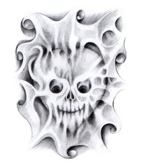Art design skull heart mix surreal tattoo hand pencil drawing on paper.