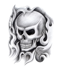 Art design skull head mix graphic tribal tattoo hand pencil drawing on paper.