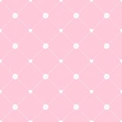 シンプルガーリーなかわいい薔薇とハートのシームレスパターン 背景素材