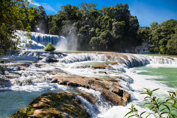 The bright azure cascades of Agua Azul in Chiapas, Mexico.