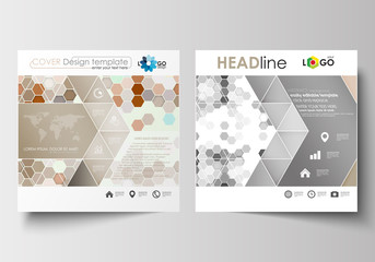 Business templates for square design brochure, magazine, flyer, booklet or annual report. Leaflet cover, flat layout. Abstract gray color background, modern stylish hexagonal vector texture.