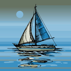 Night moon on the sea yacht floating  the water surface