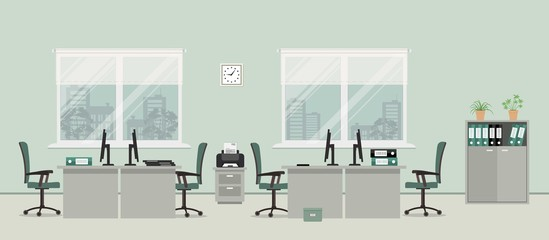 Office room in a gray color. There are tables, green chairs, case for documents, printer and other objects in the picture. Vector flat illustration