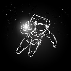 Astronaut flying in space and catches the light in his hand. Vector illustration spaceman on the star background.